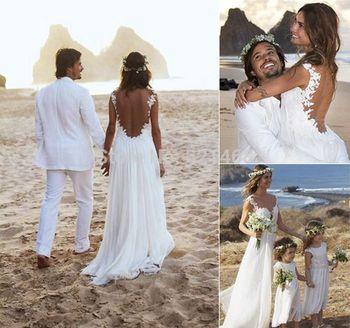 Пляж свадебное платье 2015 продаж шифон аппликация свадебное платье с открытой спиной сексуальное лето пляж платья Vestido де noiva