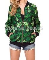 New Women weed leaf marijuana print 3D Sweatshirts Hoodies jacket sweaters Tops