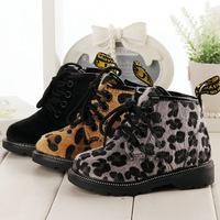 2014 winter fashion children fur warm leopard boots ankle boots horse hair snow boot kids cotoon boots girls winter boots dz25
