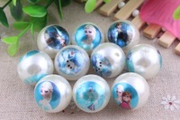 Mix Style Ivory  Pearl Print  Frozen   Chunky New  Round 20MM  100pcs Acrylic Pearl Beads  for Chunky  Necklace Kids Jewelry