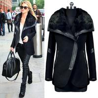 Fast/Free shipping European 2014 Plus size Fashion Clothing Slim Poncho Overcoat PU Leather Fur Patchwork Wool Women Coat B8223