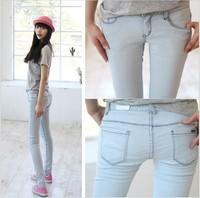 2014 new Korean version was thin light blue skinny jeans Korean version of the stretch pencil pants feet pants