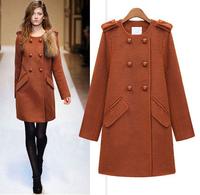Winter Europe&America Long Section Of Woolen Coat Women Thickened Plus Size Overcoat 2014 Top Grade Casacos Femininos S M L XL