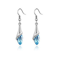 2014 Free shipping 19 Colours New Fashion Design Hot Romantic Cubic Zirconia For Women  Crystal Earring Dangle Jewelry ,ER-1083