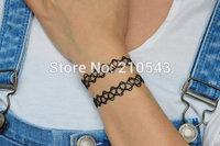 Vintage Stretch Tattoo Choker Bracelet Double Layer Black Retro Henna 90s Tattoo Choker Bracelet Women Jewelry