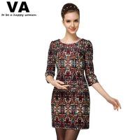 2014 Autumn Casual Dress Plus Size Straight O Neck Women Dress New Vintage Printing Elegant Dresses for Women On Sale 3XL
