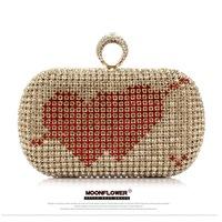 Korea Advanced Heart Love Technology Package Diamond Fashion Evening Bag Party Evening Bag Free Shipping