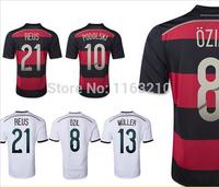 Top Thailand!! New 2014 Germany home away Soccer futbol Jerseys Deutschland Football Shirts Free Shipping Customized