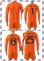New Fashion Real Casillas Navas Pacheco Uniforms Jerseys Soccer Jersey 2014-2015 Goalkeeper Kit Long Sleeve Orange Jersey