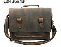 Top Layer Crazy Horse Genuine Leather Vintage Men's Messenger Bag Craft National  leather satchel School Bag Cross Body Shoulder