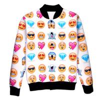 3D Print Coat Cartoon emoji expression Funny Sweatshirts women/men casual pullover hoodies Jacket Tops Baseball uniform SP119