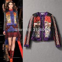 2014 autumn and winter women fashion personality fashion print short cotton-padded jacket