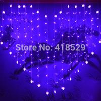 1Pcs LED heart lights flash lamps Christmas LED Light 124 Leds light  hanging lamp curtain lights 2M*1.5M Free shipping