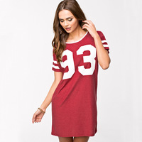 2015 new oversized American baseball Tee style number 93 athletic letters printed red short sleeve women long t shirts dress