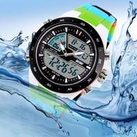 Skmei Luxury Mens Dual movement Sports Military Digital and analog Watches 50M Waterproof 2014 New - Ice Cream Design