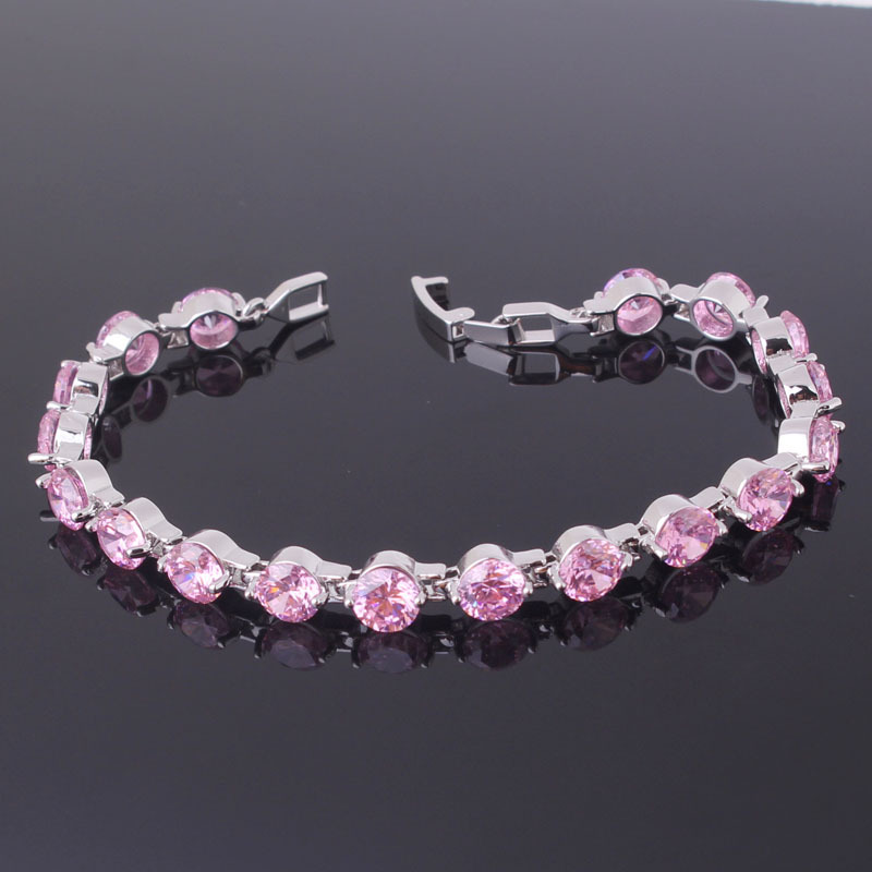 Lovely Jewelry Chain Bracelet 18k White Gold Plated Pink Zirconia Crystal Bracelet Hot Selling Free Shipping