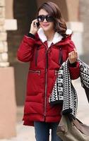 Winter Jacket Women Fashion Heavy Hair Collar Winter Coat Women Casual  Thick Down Jacket  Red Cotton Coat Free Shiping S-3XL