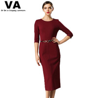 Womens Top Brand Fashion 2014 O Neck Solid Color Women Dress Autumn New Fashion Casual Slim Long Dress Wine Red With a Belt