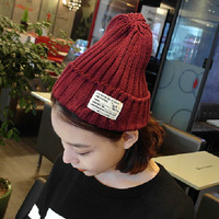 30402014 new autumn and winter Mao Xianmao solid Millinery knitting wool cap crimping cap wholesale