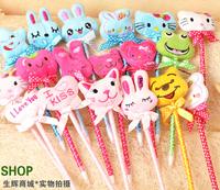 Creative stationery wholesale 36pcs blue ink cute plush cartoon cat rabbit star ballpoint ball pen school kids prize gift