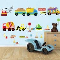Free shipping Wall stickers cartoon car children room bedroom bed post engineering vehicle car kindergarten dress