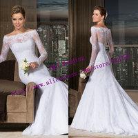 Custom Made New Fashionable Sexy Long Sleeve Bridal Gown Mermaid Lace Wedding Dress 2015 Vestido De Noiva