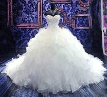 Vinatge Plus Size Wedding Dresses Ivory Vestido De Noiva Bridal Gowns Cheap Sweetheart Custom Made Ball Bead Curto Garden 2014(China (Mainland))