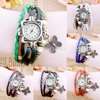 FREE SHIPPING---High Quality Women & men unisex pu Leather Vintage butterfly bracelet Wristwatch