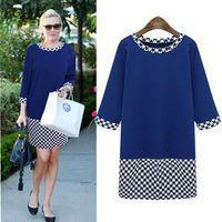 Three Quarter Sleeve Paid Patchwork Slim Fit Round Collar Dress Plus Size 5XL Women Clothing Blue Black Fall 2014 New