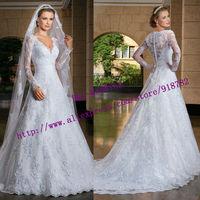 New Arrival Fashionable Elegant A Line V Neckline Floor Length White Ivory Long Sleeve Lace Wedding Dress 2015 Vestido De Renda