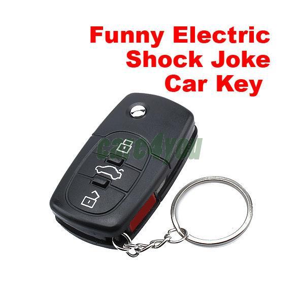 Electric Shock Car Key Toy Gag Practical Joke Toy Prank Car Key LED Car Key Toy Funny Toy E#CH(China (Mainland))
