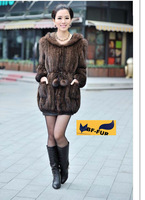 New natural real mink fur coat women's long-sleeve top fashion all-match mink knitted outerwear overcoat Free shipping