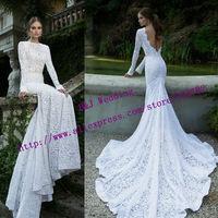 vestido de noiva 2015 Custom Made China Fashion Sexy Salomon Mermaid Lace Wedding Dresses Backless Long Sleeve
