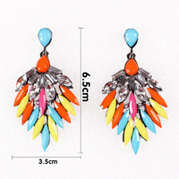 """2.56"""" New Retro Fashion Rhinestones Hiphop Style Exaggeration Resin Drop Earrings Free Shipping, Item no.: MD018"""