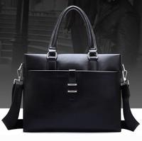 Hot sale fashion men bag leather, promotional business bags for men with genuine soft leather, big size men laptop shoulder bag