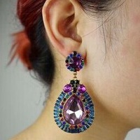 Vintage Exquisite Rhinestone New Drop Fashion Wholesale Retail Jewelry Multicolor Shining EARRINGS, item no.: MD019