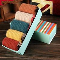 2014 New Brand High Quality Women Socks winter autumn warm Sock rabbit wool socks 5pairs/lot with gift box  Free Shipping NM