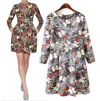 Floral Print Casual Dress Long-sleeved Scoop Collar Vestidos Femininos 2014 Brand Women Dresses A-line Above Knee Mini Hot