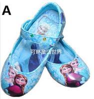 2015 hot sell frozen shoes blue girls flats kids  children shoes High Quality princess girls shoes  Free Shipping