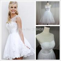 New Design H9033 New Arrival High neckline High quality Beads Short Wedding Dress VESTIDO DE NOIVA