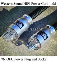 HIFI Power Cord Western Sound 7N OFC Power Plug Socket Western Electric 9 Strands Spiral 5Square mm 1.5m Black DIY Free Shipping