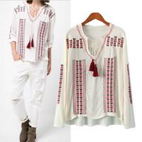Spring Autumn 2014 Casual Long Sleeve Womens Blouses Novelty Ladies Shirt Fashion Woman Tops Blusas Femininas Free Shipping