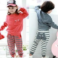 2014 New Autumn Baby Boy Clothing thermal Cat face Tracksuit  2PCS Cloth Set Children Cloth Suit Top T shirt + stripe Pants