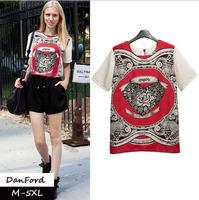 2014 New Brand  Women Plus Size Short Sleeve T Shirt Fashion Chiffon Print  Blouse for Women M-5XL DFT-013