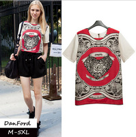 2014 New Brand  Women Plus Size Short Sleeve T Shirt Fashion Chiffon Print  Blouse for Women M-5XL DFT-013