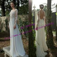 vestido de noiva renda 2015 Bride Dresses Fashionable Sexy A Line Chiffon Plus Size Lace Backless Wedding Dress Long Sleeve