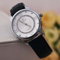 SKONE Leather watch diamond fashion casual women Fashionable clothing watches quartz watch clock