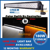 180W Cree LED Work Light Bar For 4WD 4x4 Off road Light Bars TRUCK BOAT TRAIN BUS color switch by control + Free Wiring