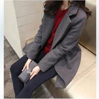 Fall Winter Women Woolen Coat Slim Long Women Turn-down Collar Double Breasted Outwear Gray Blue Black 10246