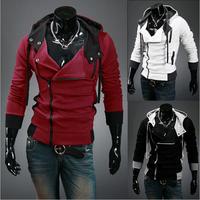 M-XXXXL Male Fashion Assassins Creed Sports Wear Man Zipper Hoody Fleece Hood Cardigan Tracksuit Hoodies Sweatshirt Coat For Men